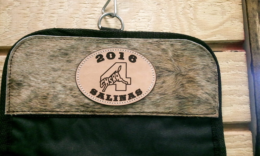 #18 roll up travel bag with cowhide