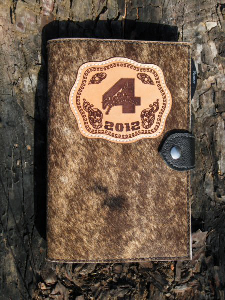 #22 Day planner, cowhide with lasered award shield