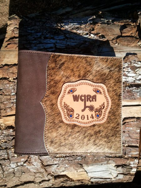 #23 Photo album, leather & cowhide with lasered award