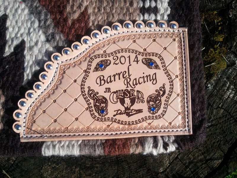 #41 Wool saddle blanket tooled, scalloped, with spots