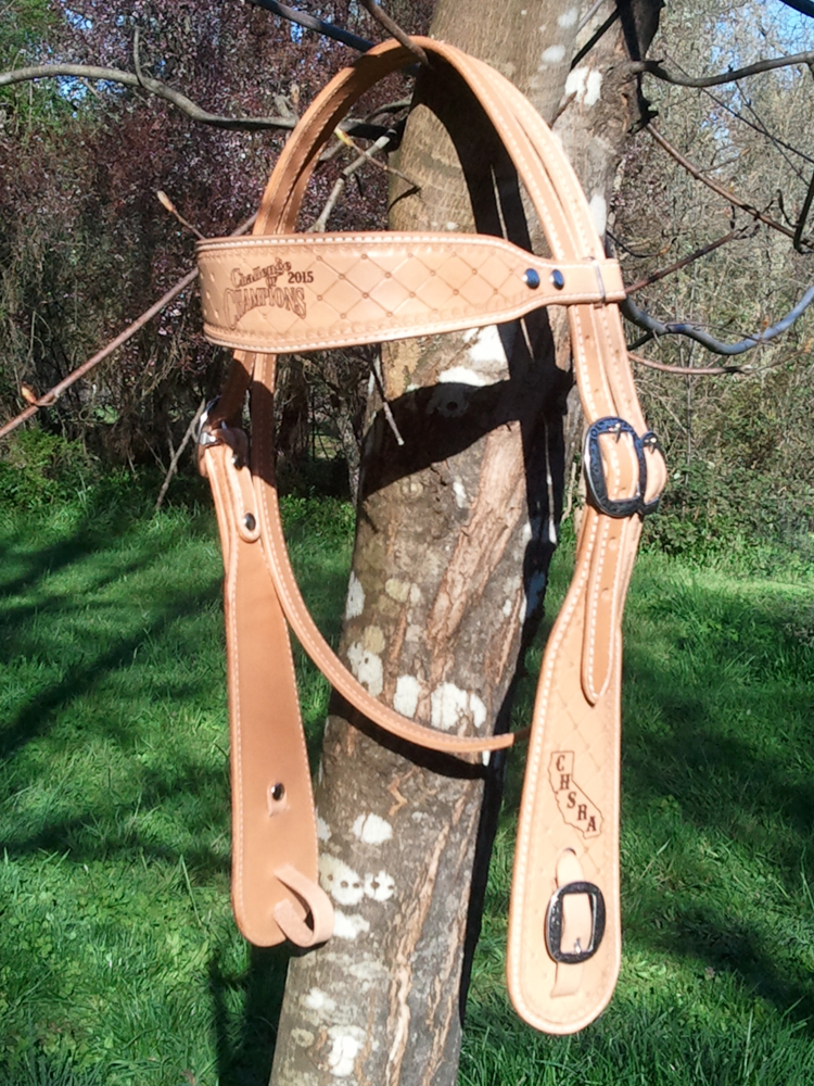 #48 Headstall, tooled & award on cheek & browband, available with paint washed and rhinestones